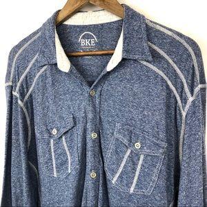 BKE Blue Casual/Comfy Button Up Shirt Size XL Mens